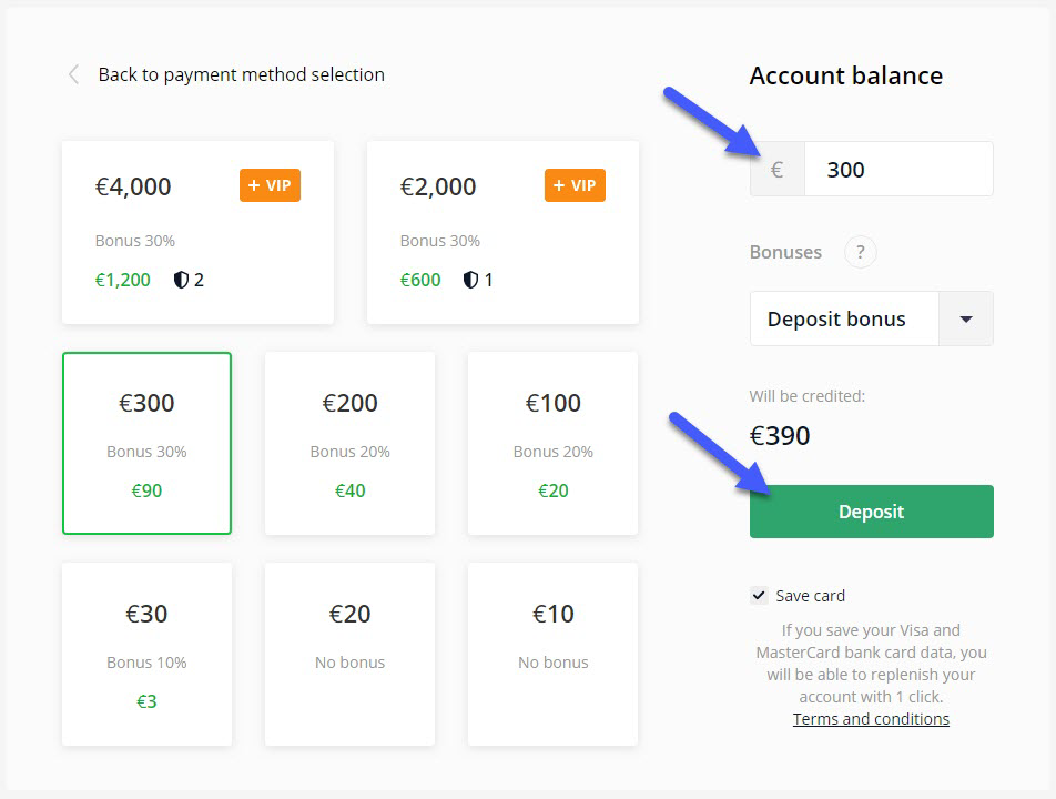 Top up your trading account