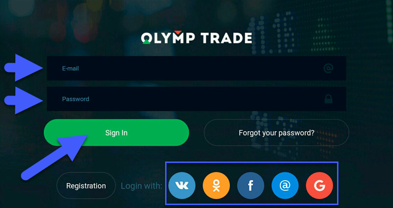OlympTrade IOS app login registration