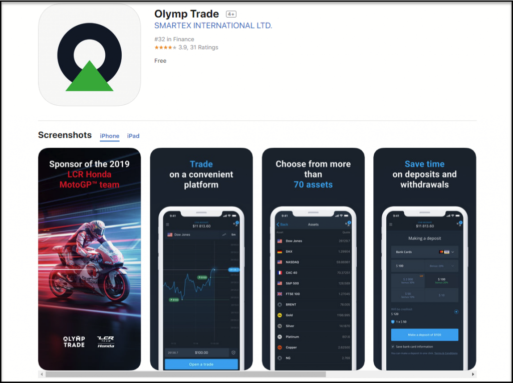 OlympTrade IOS app on ITunes
