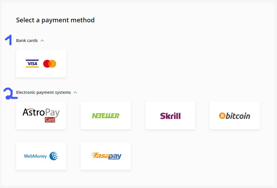 OlympTrade Payment methods