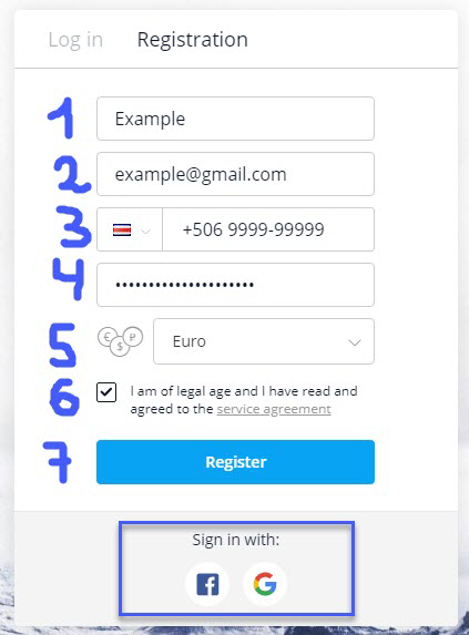 OlympTrade Registration information
