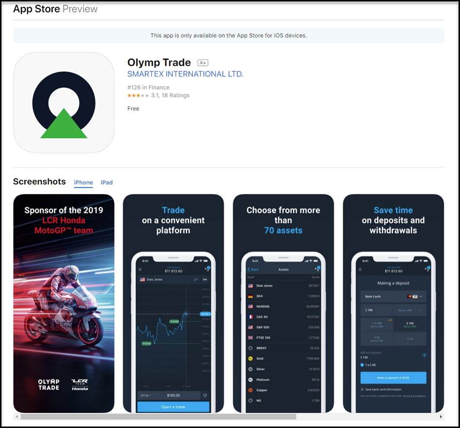 OlympTrade Mobile app for IOS in India